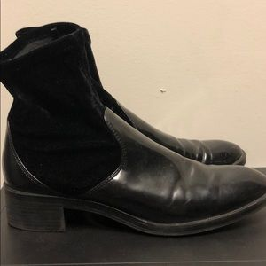 Black Zara Patent Leather Sock Boots